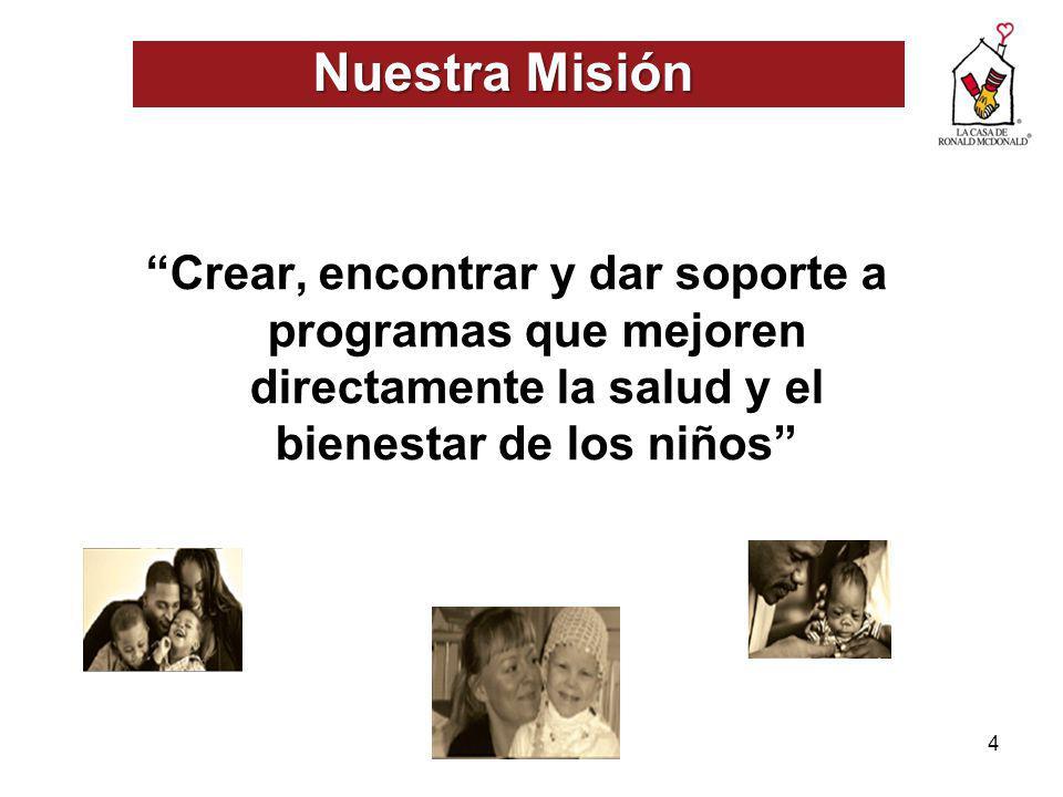 Nuestra Misión Crear, encontrar y dar soporte a programas que mejoren directamente la salud y el bienestar de los niños