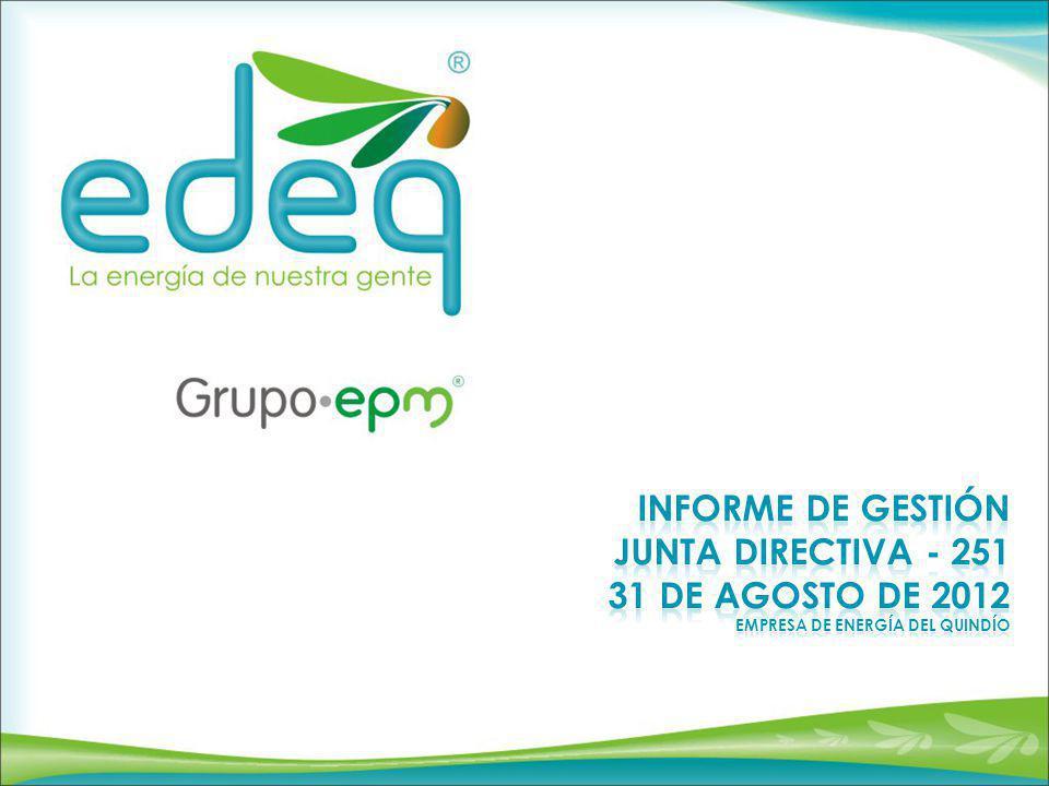 Informe DE GESTIÓN JUNTA DIRECTIVA - 251 31 De Agosto De 2012 Empresa de energía del Quindío