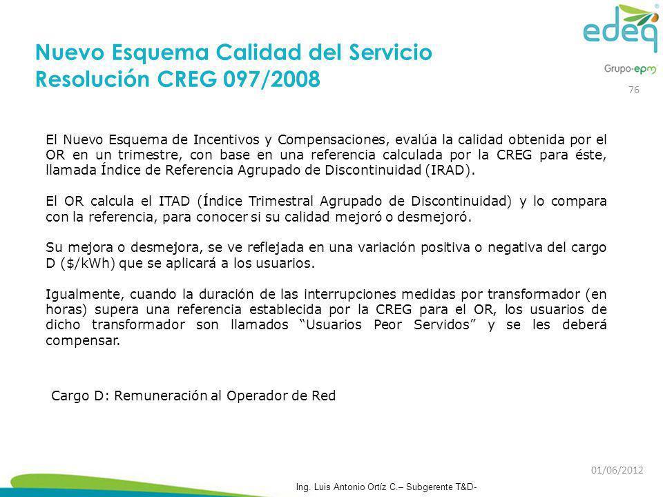 Nuevo Esquema Calidad del Servicio Resolución CREG 097/2008
