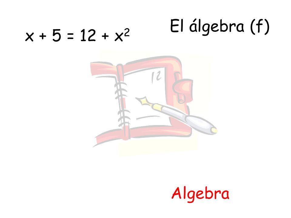 El álgebra (f) x + 5 = 12 + x2 Algebra