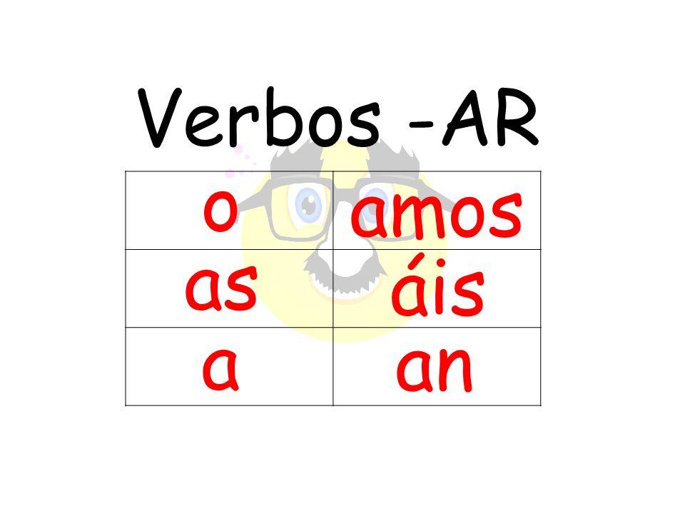 Verbos -AR o amos as áis a an