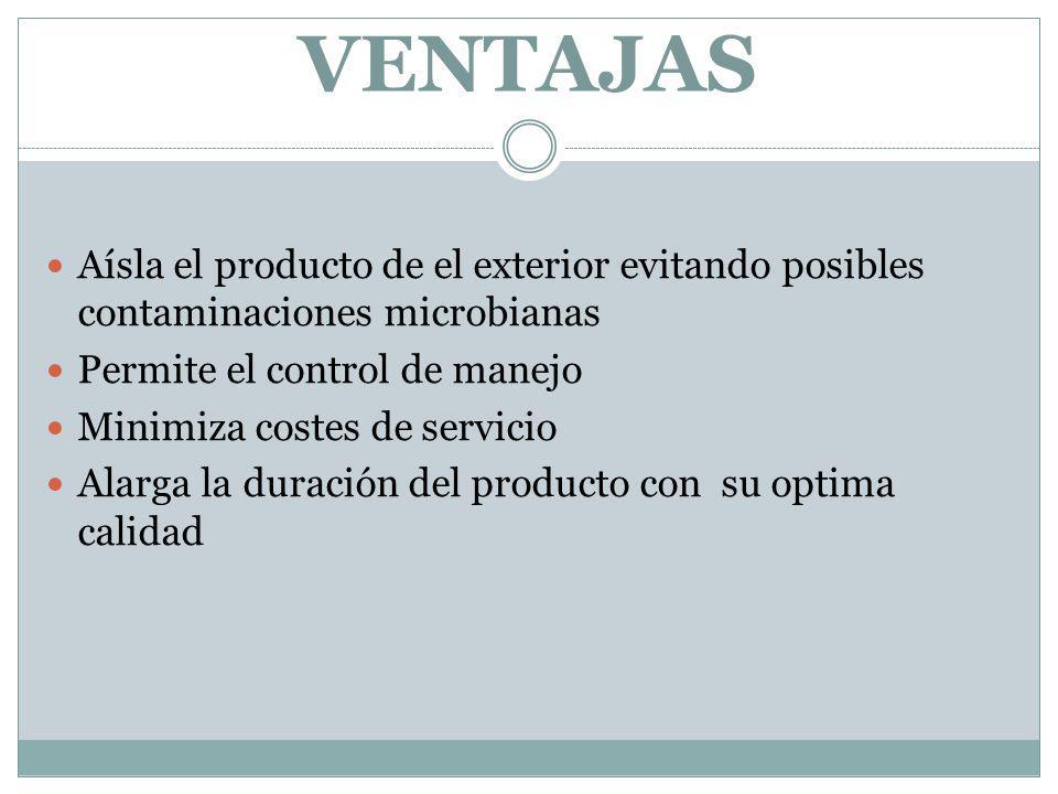 VENTAJAS Aísla el producto de el exterior evitando posibles contaminaciones microbianas. Permite el control de manejo.