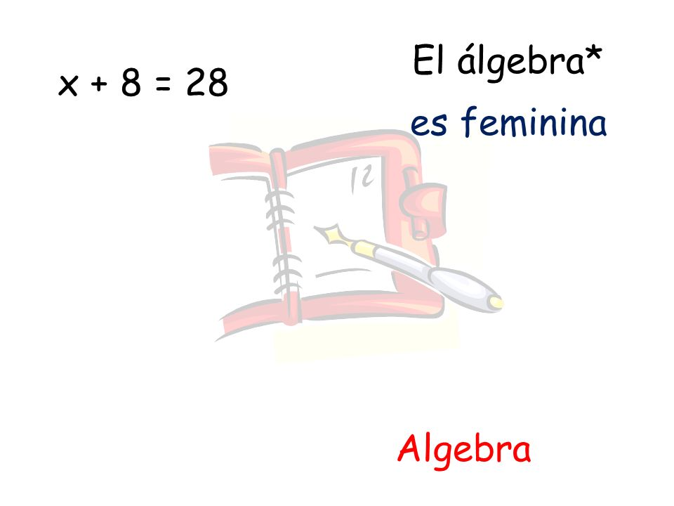 El álgebra* x + 8 = 28 es feminina Algebra