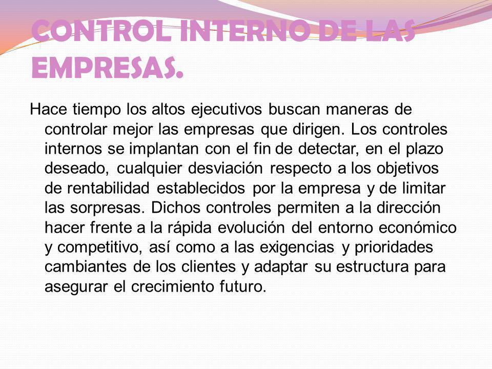 CONTROL INTERNO DE LAS EMPRESAS.