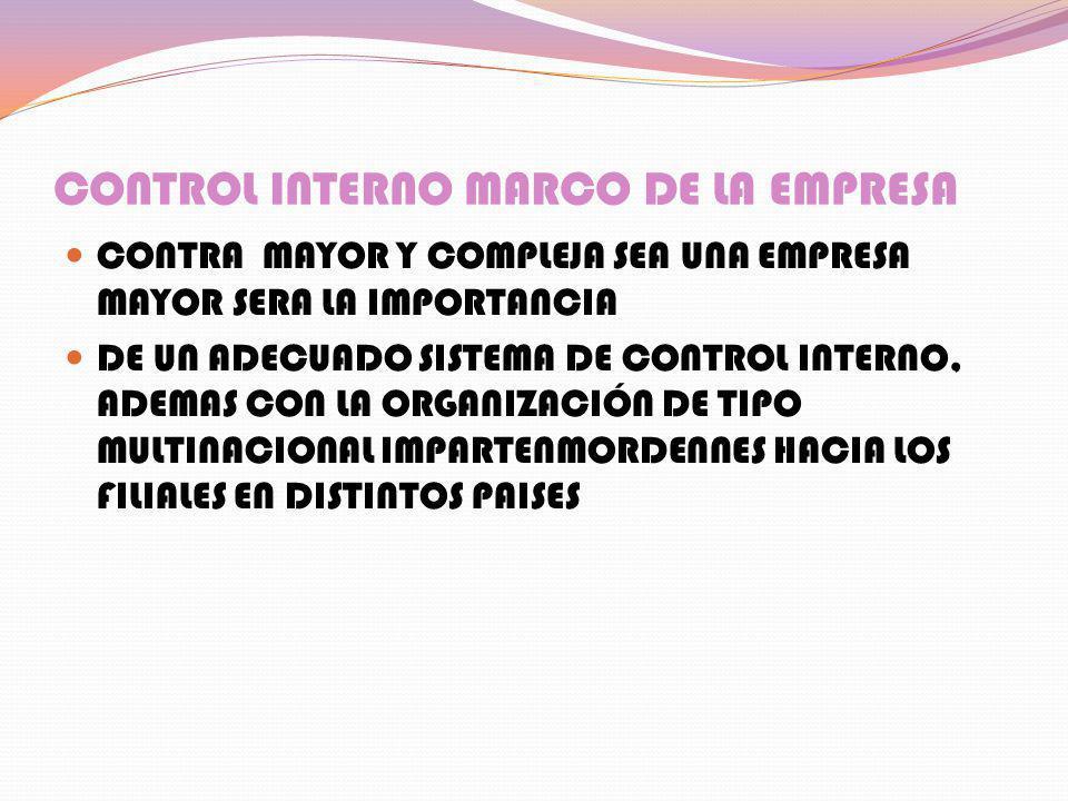 CONTROL INTERNO MARCO DE LA EMPRESA