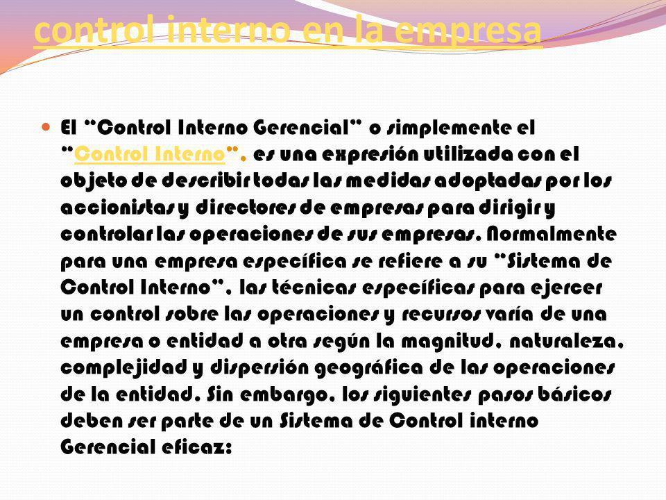 Importancia y aplicación del control interno en la empresa