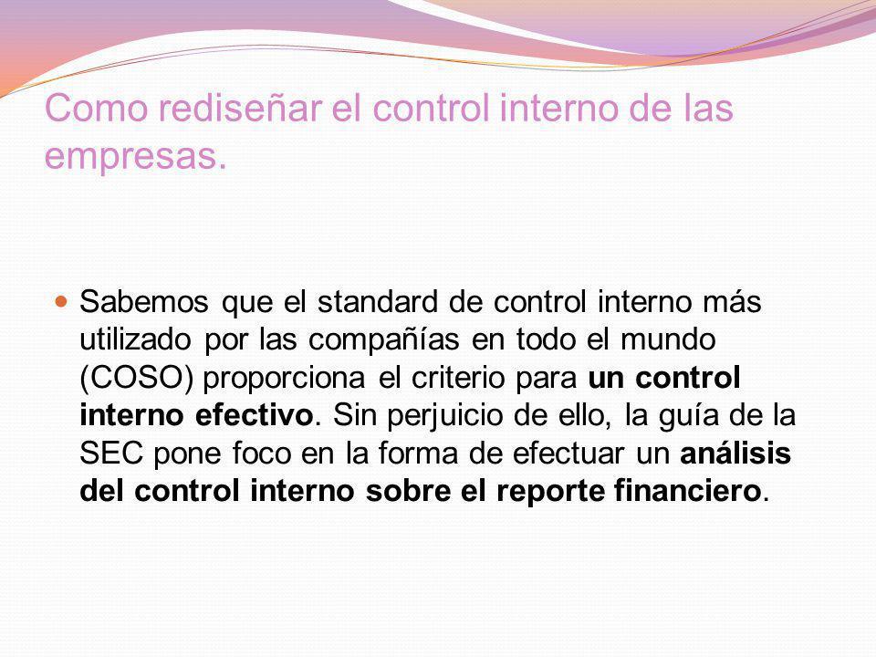 Como rediseñar el control interno de las empresas.