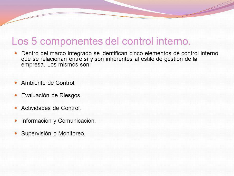 Los 5 componentes del control interno.