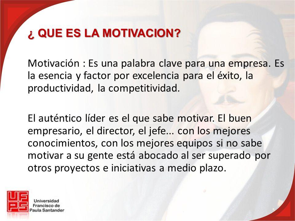 ¿ QUE ES LA MOTIVACION. Motivación : Es una palabra clave para una empresa.