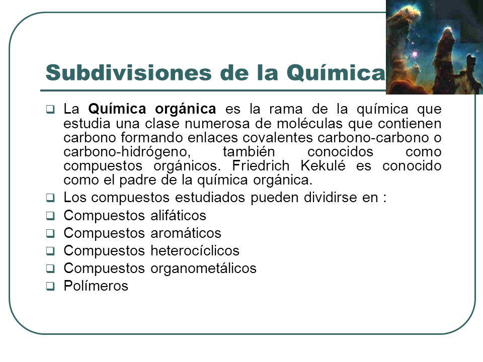 Subdivisiones de la Química