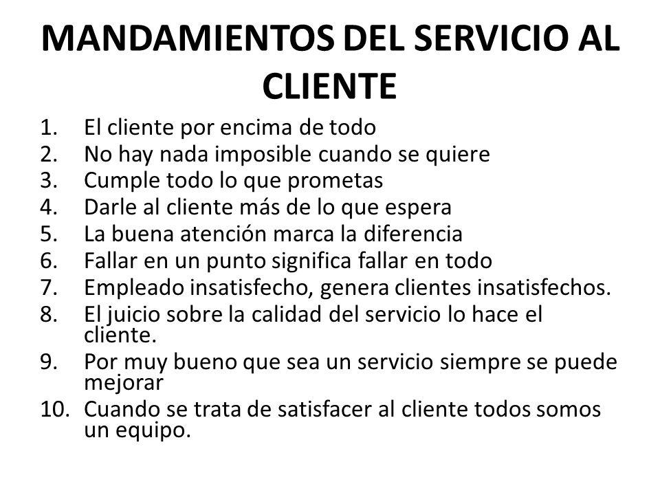 MANDAMIENTOS DEL SERVICIO AL CLIENTE
