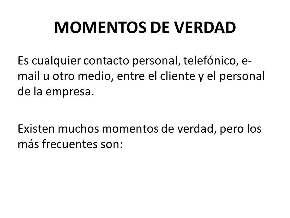 MOMENTOS DE VERDAD Es cualquier contacto personal, telefónico, e-mail u otro medio, entre el cliente y el personal de la empresa.