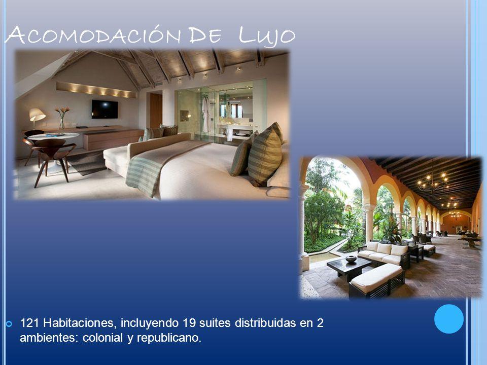 Acomodación De Lujo 121 Habitaciones, incluyendo 19 suites distribuidas en 2 ambientes: colonial y republicano.