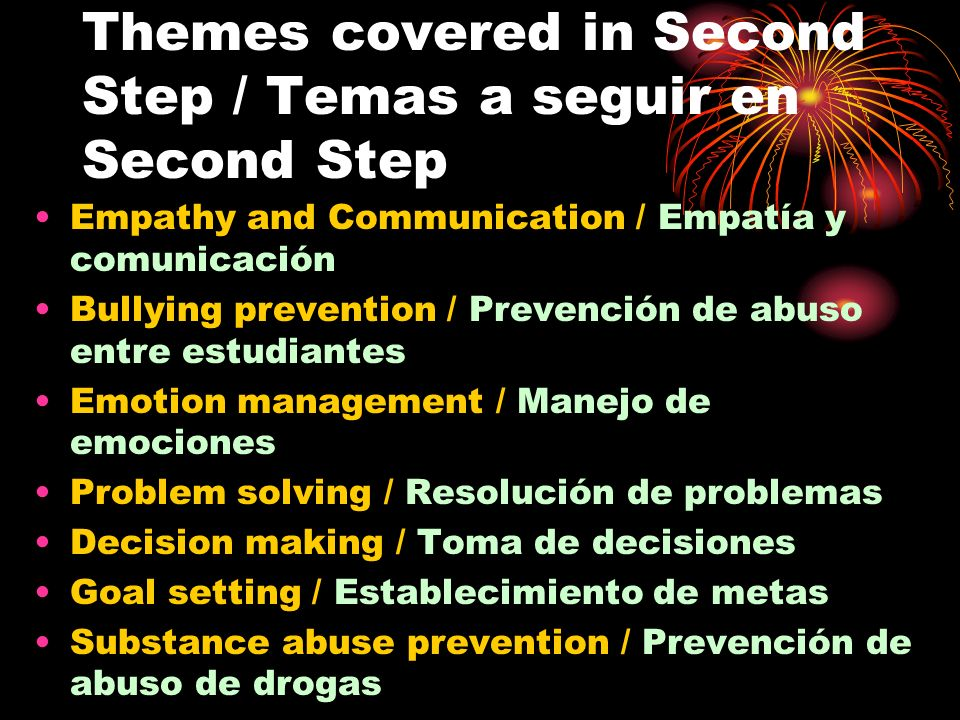 Themes covered in Second Step / Temas a seguir en Second Step