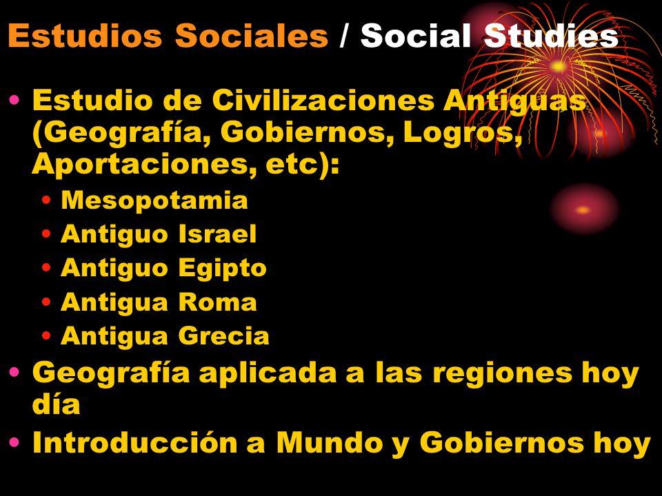 Estudios Sociales / Social Studies