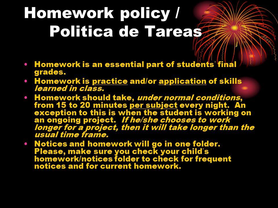 Homework policy / Politica de Tareas