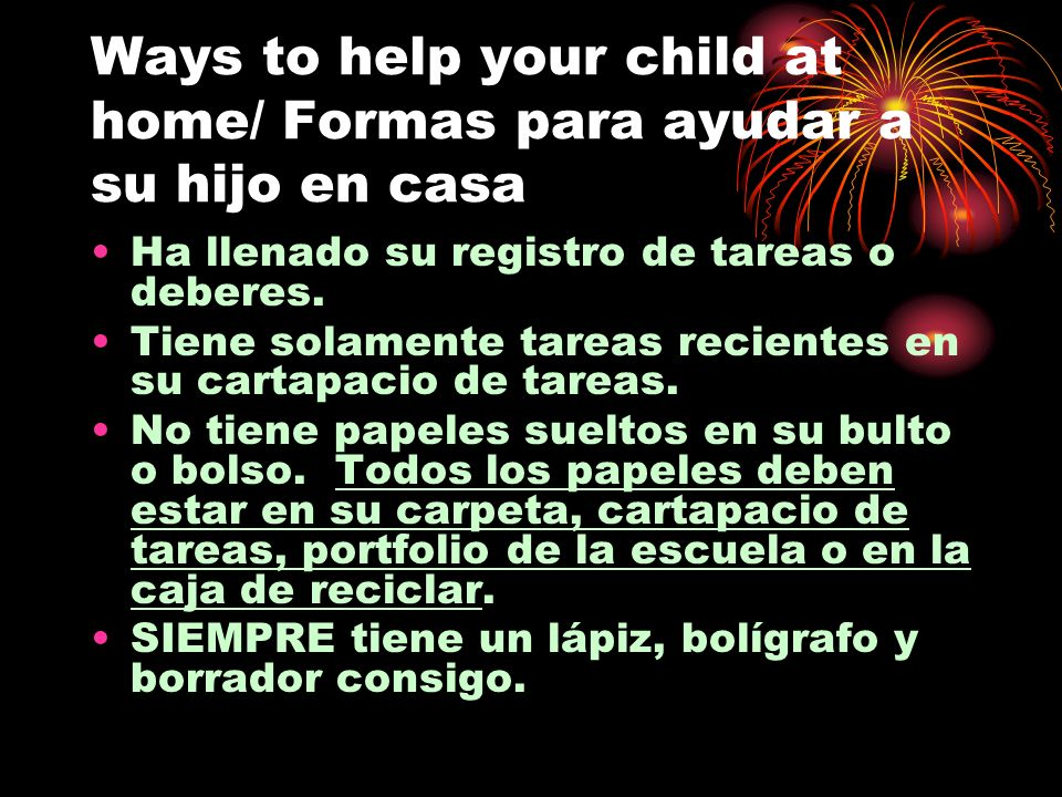 Ways to help your child at home/ Formas para ayudar a su hijo en casa
