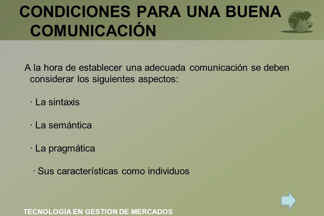 CONDICIONES PARA UNA BUENA COMUNICACIÓN