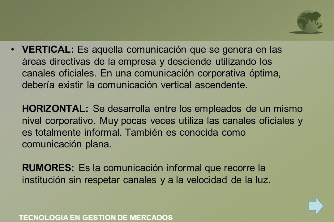 VERTICAL: Es aquella comunicación que se genera en las áreas directivas de la empresa y desciende utilizando los canales oficiales. En una comunicación corporativa óptima, debería existir la comunicación vertical ascendente. HORIZONTAL: Se desarrolla entre los empleados de un mismo nivel corporativo. Muy pocas veces utiliza las canales oficiales y es totalmente informal. También es conocida como comunicación plana. RUMORES: Es la comunicación informal que recorre la institución sin respetar canales y a la velocidad de la luz.