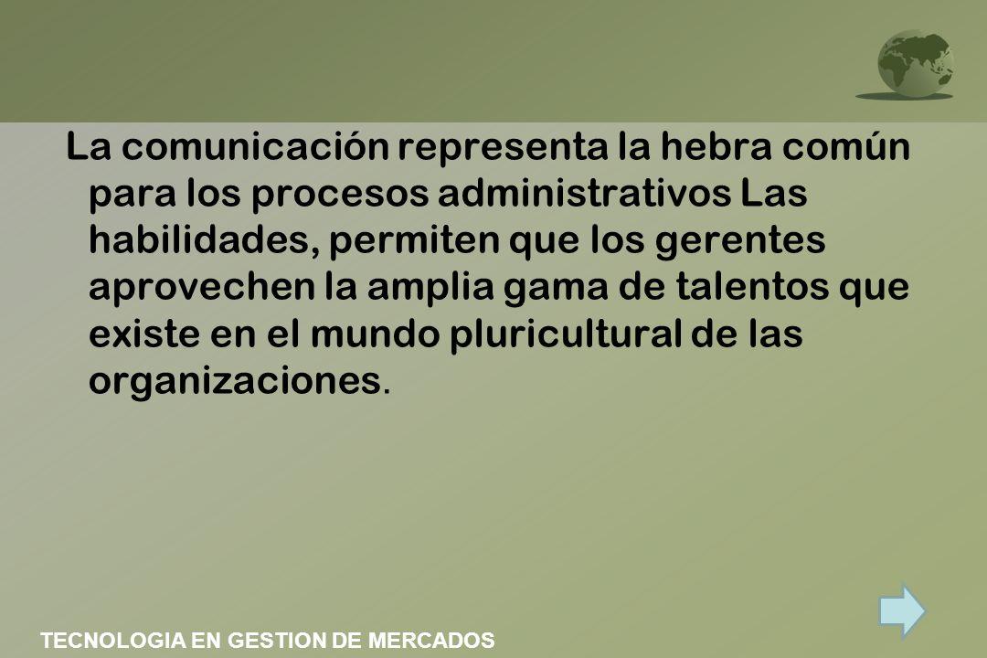 La comunicación representa la hebra común para los procesos administrativos Las habilidades, permiten que los gerentes aprovechen la amplia gama de talentos que existe en el mundo pluricultural de las organizaciones.