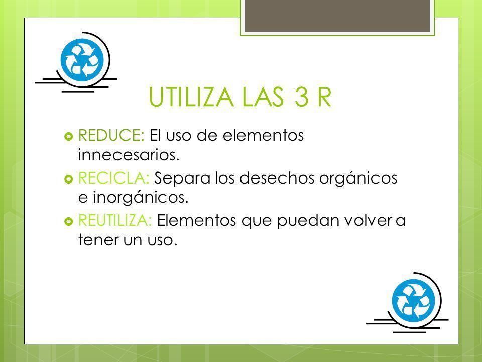 UTILIZA LAS 3 R REDUCE: El uso de elementos innecesarios.