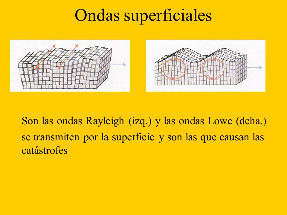 Ondas superficiales Son las ondas Rayleigh (izq.) y las ondas Lowe (dcha.) se transmiten por la superficie y son las que causan las catástrofes.