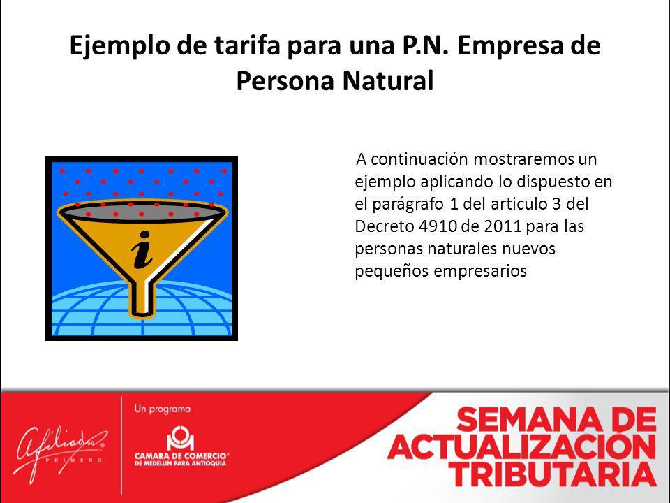 Ejemplo de tarifa para una P.N. Empresa de Persona Natural