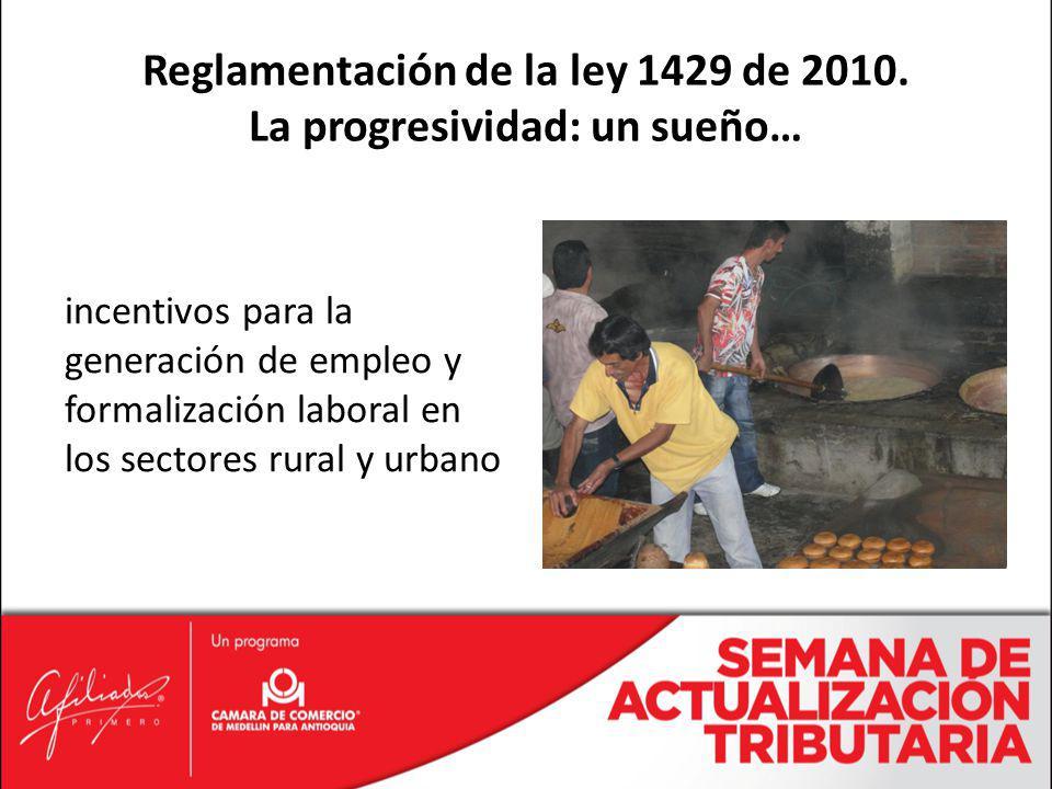Reglamentación de la ley 1429 de 2010. La progresividad: un sueño…