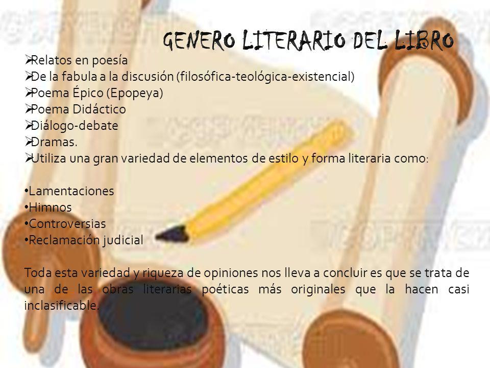 GENERO LITERARIO DEL LIBRO