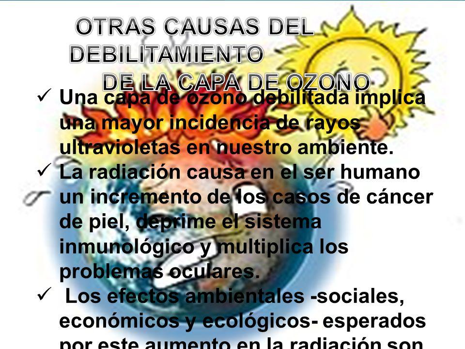 OTRAS CAUSAS DEL DEBILITAMIENTO DE LA CAPA DE OZONO