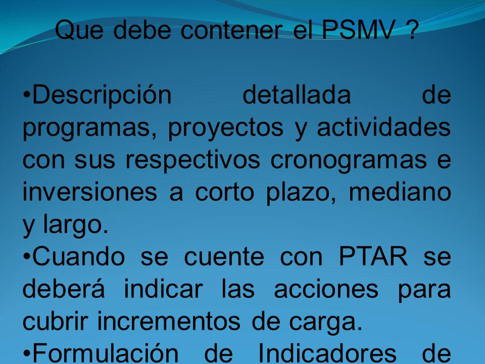 Que debe contener el PSMV