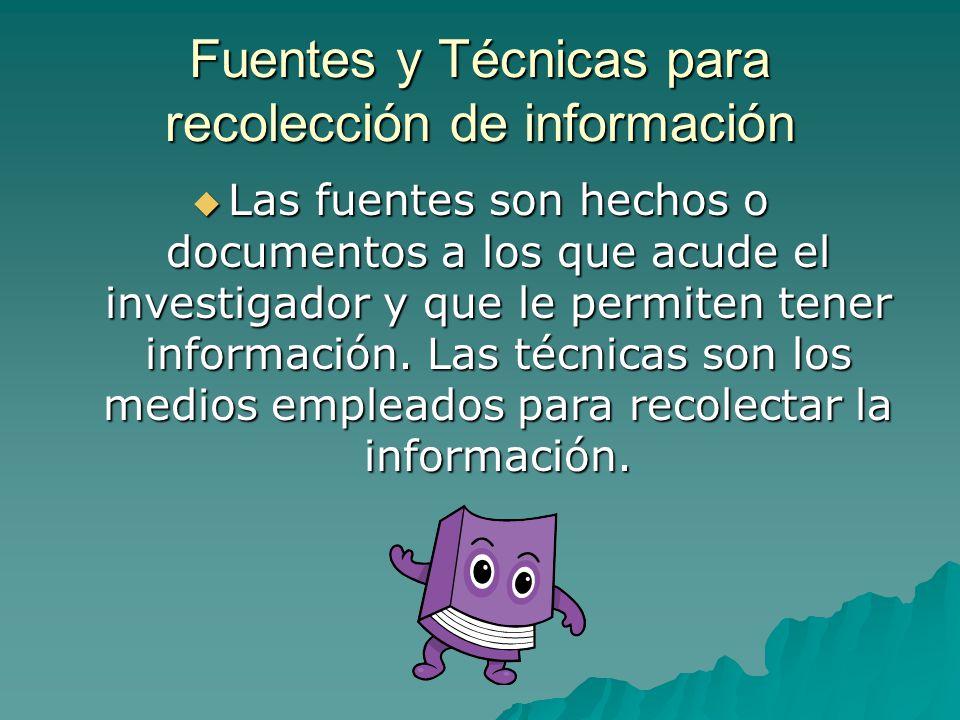 Fuentes y Técnicas para recolección de información