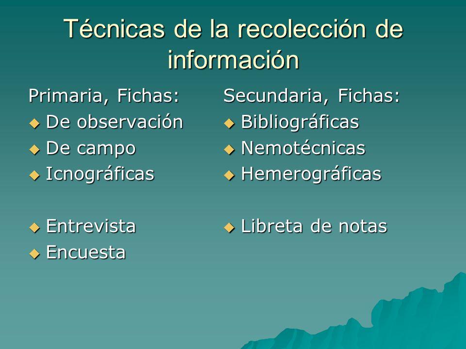 Técnicas de la recolección de información