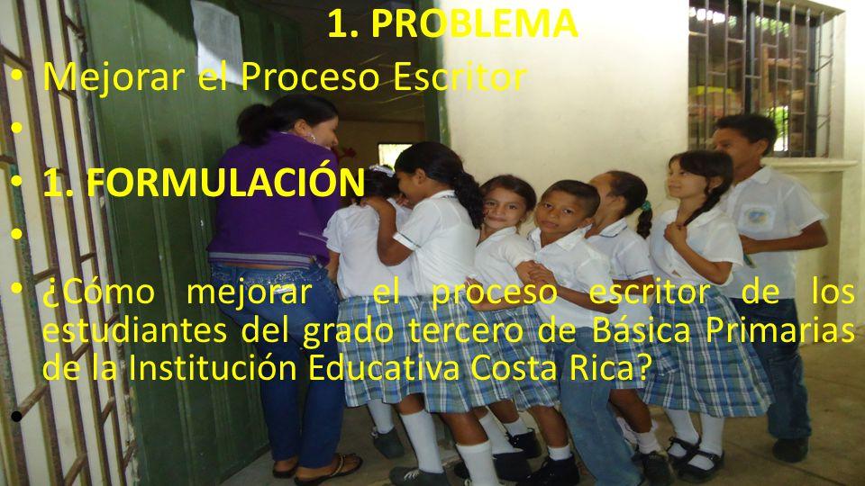 1. PROBLEMA Mejorar el Proceso Escritor. 1. FORMULACIÓN.
