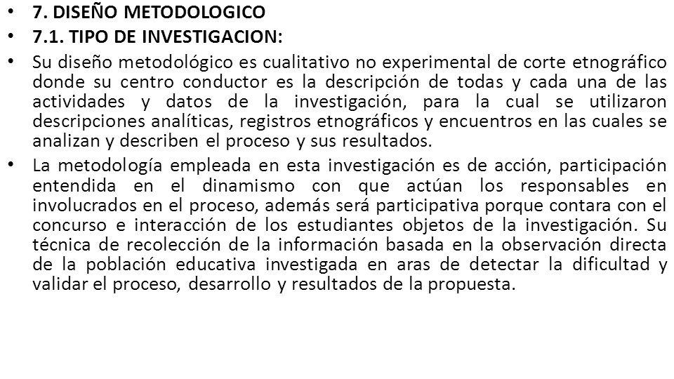 7. DISEÑO METODOLOGICO 7.1. TIPO DE INVESTIGACION: