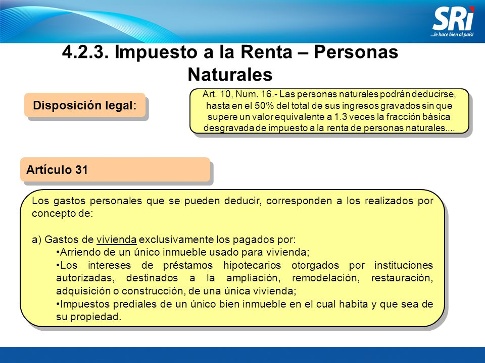 4.2.3. Impuesto a la Renta – Personas Naturales