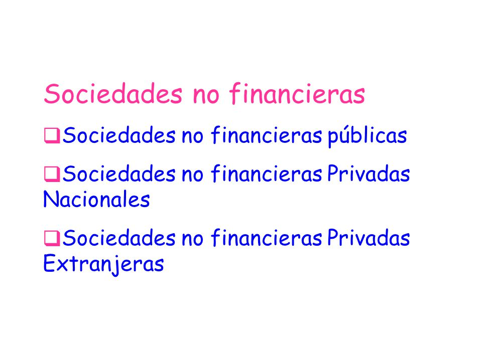 Sociedades no financieras