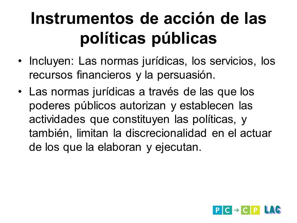 Instrumentos de acción de las políticas públicas