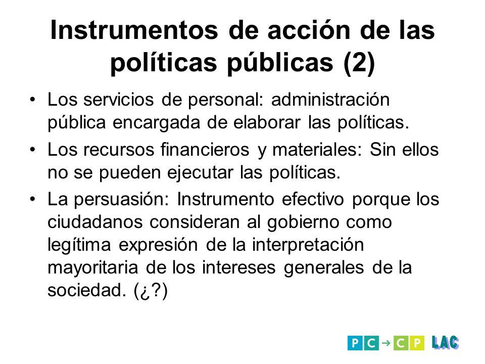 Instrumentos de acción de las políticas públicas (2)