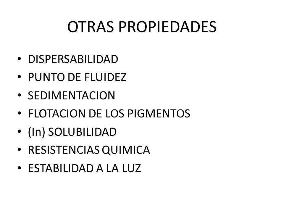 OTRAS PROPIEDADES DISPERSABILIDAD PUNTO DE FLUIDEZ SEDIMENTACION