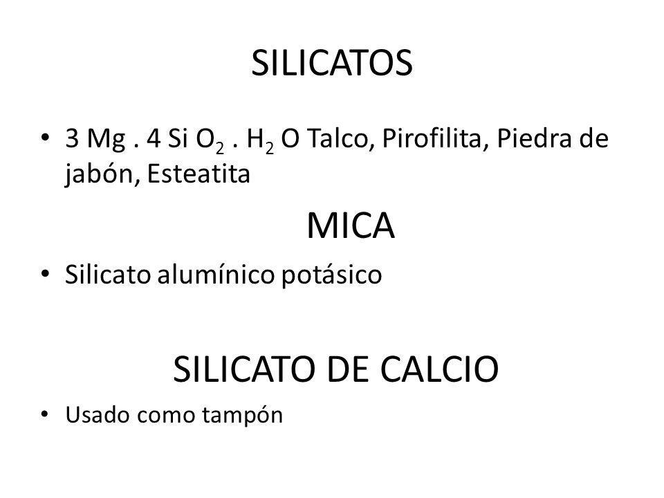 SILICATOS 3 Mg . 4 Si O2 . H2 O Talco, Pirofilita, Piedra de jabón, Esteatita. MICA. Silicato alumínico potásico.