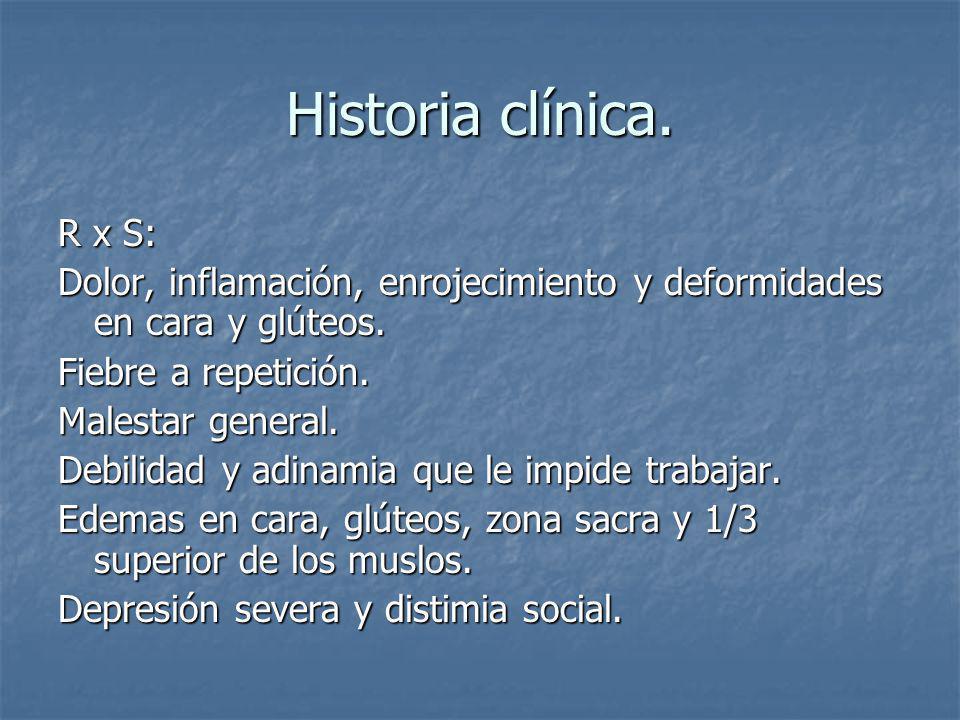 Historia clínica. R x S: Dolor, inflamación, enrojecimiento y deformidades en cara y glúteos. Fiebre a repetición.