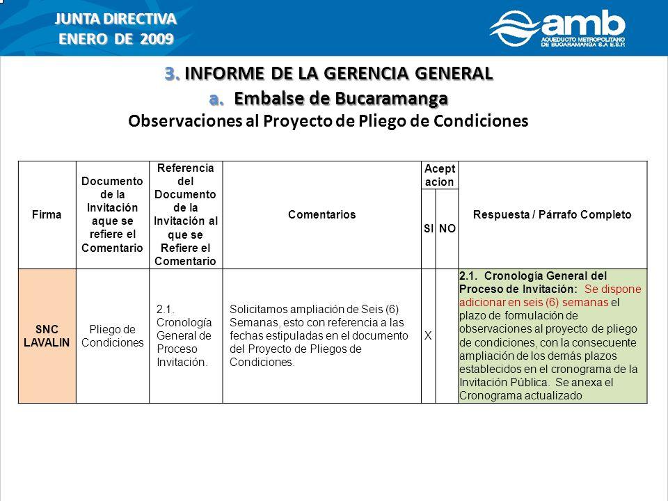 3. INFORME DE LA GERENCIA GENERAL a. Embalse de Bucaramanga