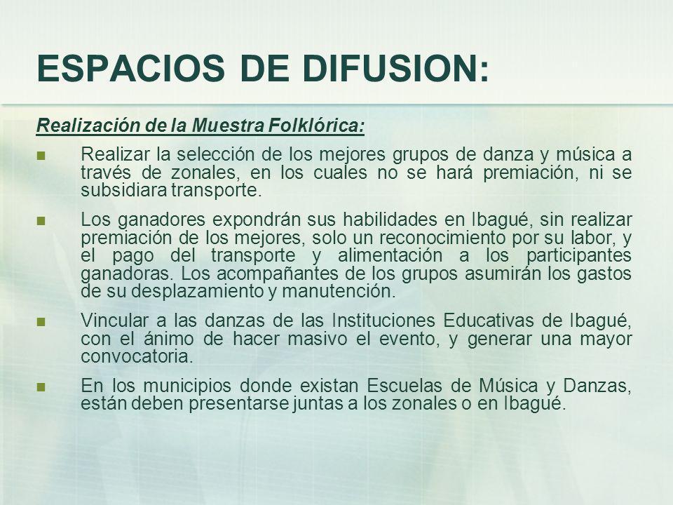 ESPACIOS DE DIFUSION: Realización de la Muestra Folklórica: