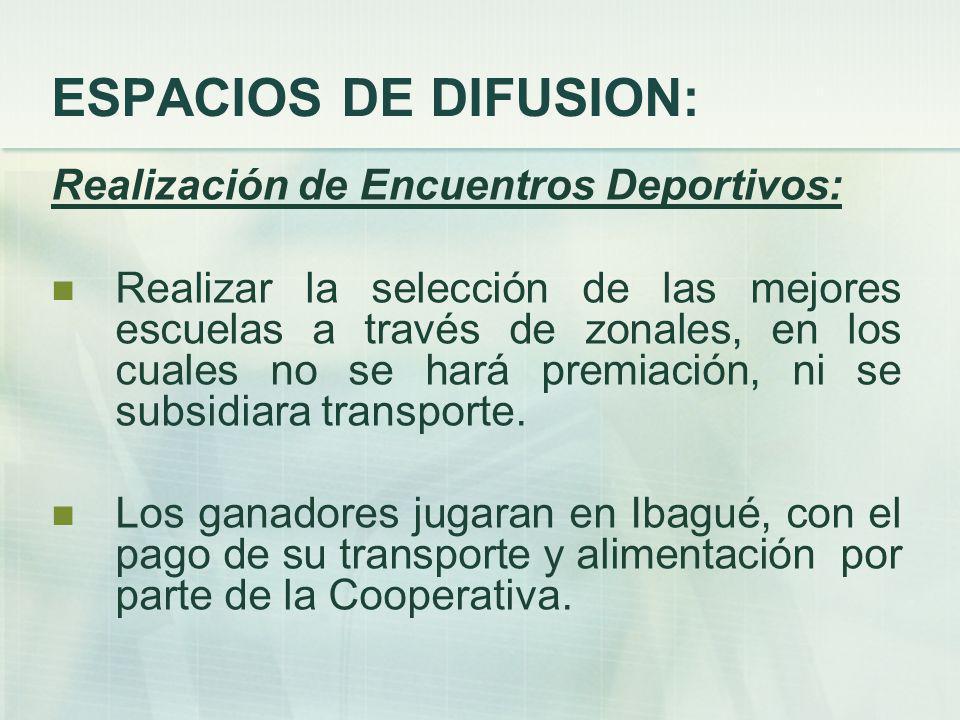 ESPACIOS DE DIFUSION: Realización de Encuentros Deportivos: