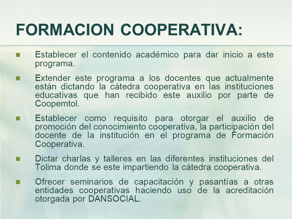 FORMACION COOPERATIVA: