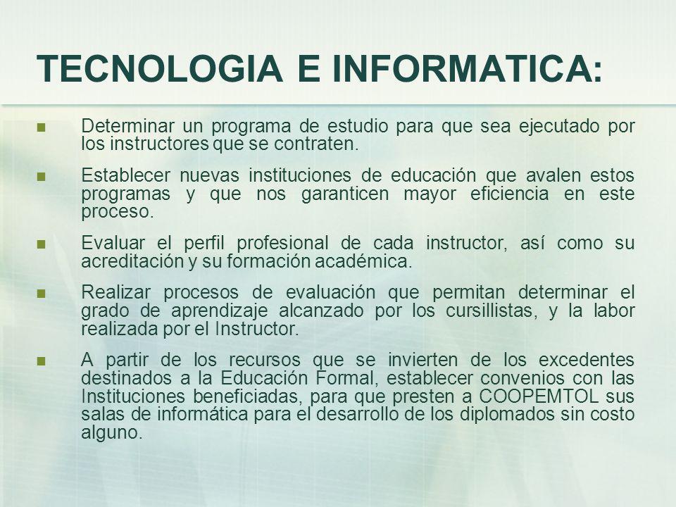 TECNOLOGIA E INFORMATICA: