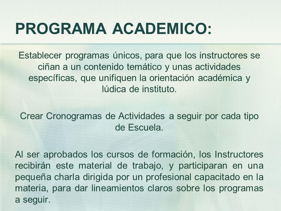 Crear Cronogramas de Actividades a seguir por cada tipo de Escuela.