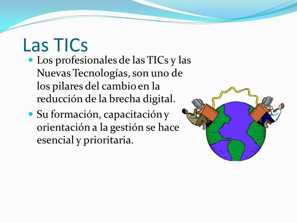 Materia Las TICs. Los profesionales de las TICs y las Nuevas Tecnologías, son uno de los pilares del cambio en la reducción de la brecha digital.