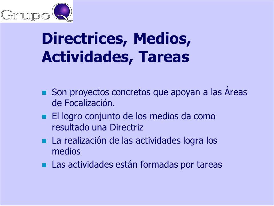 Directrices, Medios, Actividades, Tareas